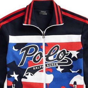 Polo Mens Double-Knit Track Americana Jacket Sz L